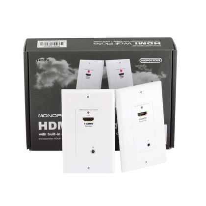 Plaque murale d'extension HDMI sur Cat5e / Cat6 (paire) avec canal infrarouge arrière intégré
