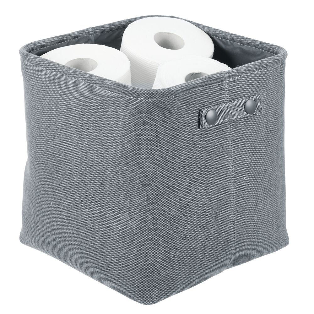 Small Fabric Bathroom Storage Bin - Coated Interior in Charcoal Gray, 10.5 x 10.5 x 11, by mDesign