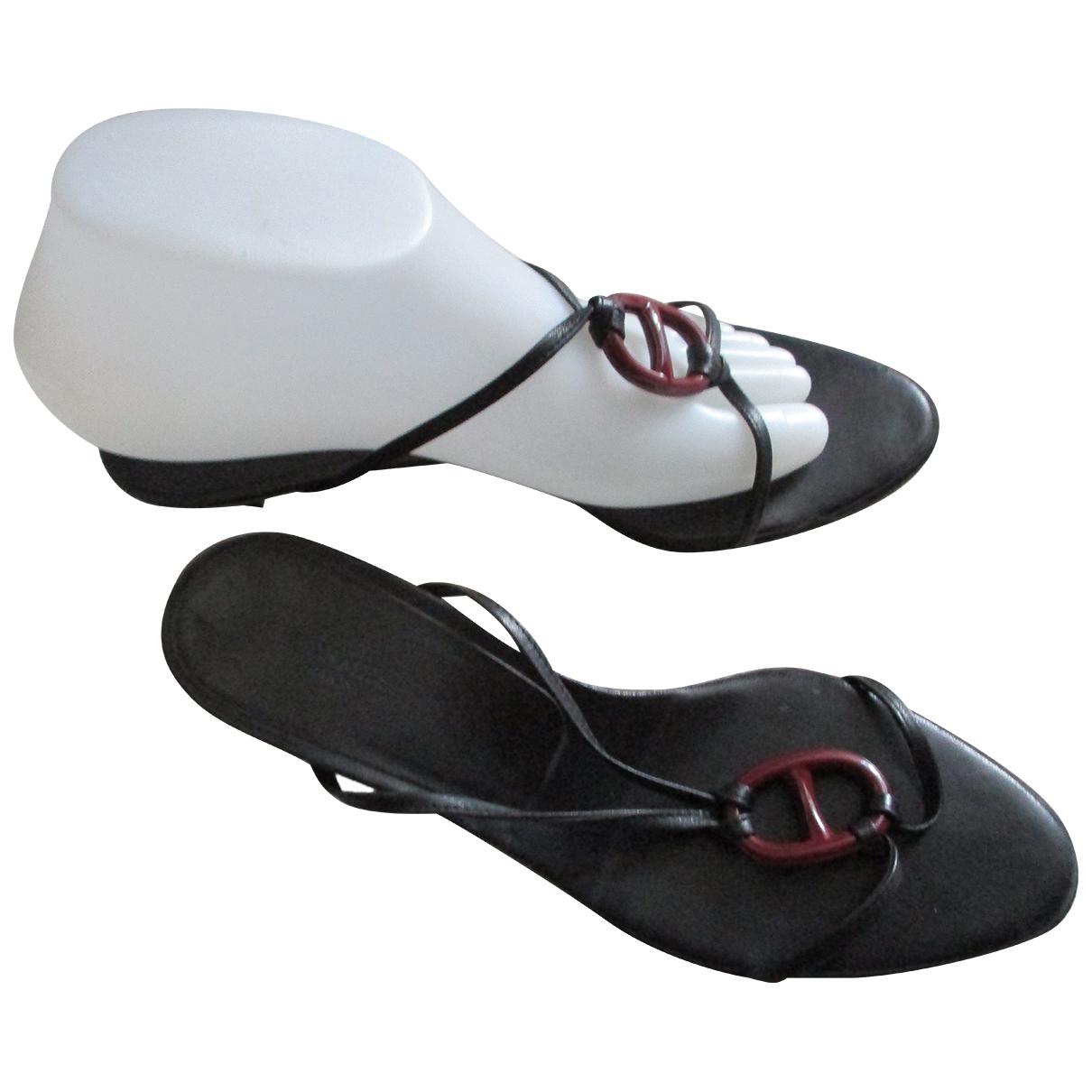Hermes - Sandales Kala pour femme en cuir - noir
