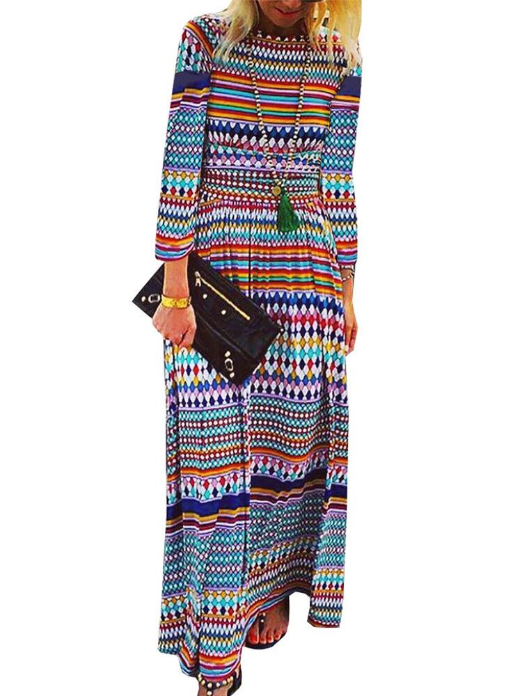 Long Sleeve Ethnic Stripe Print Bohemian Maxi Dress