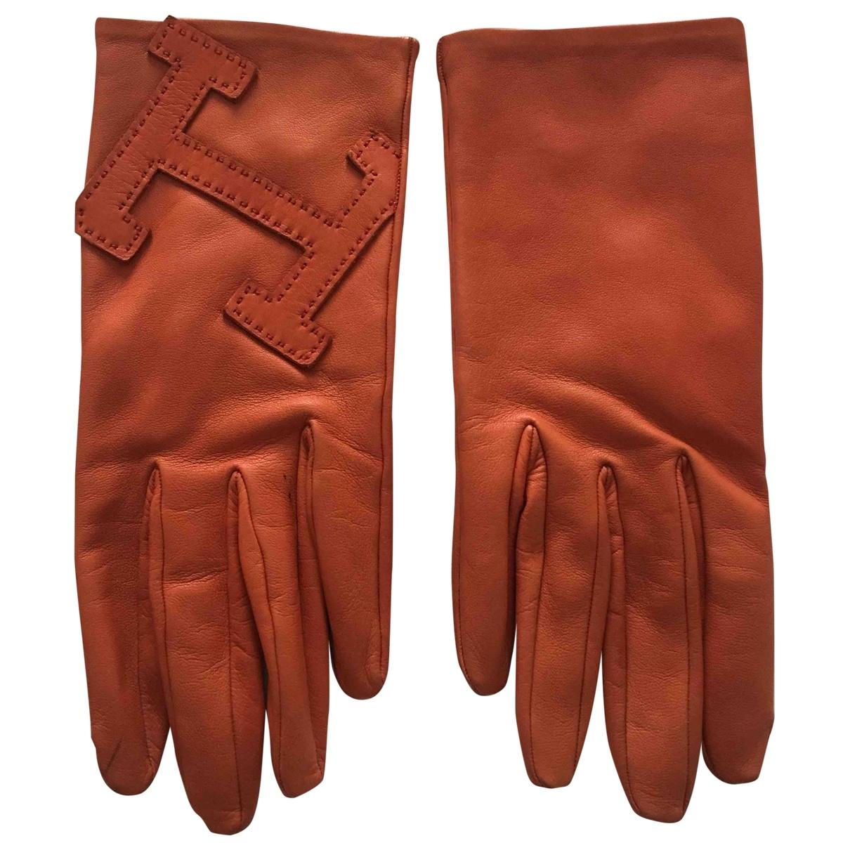 Hermes - Gants   pour femme en cuir - orange