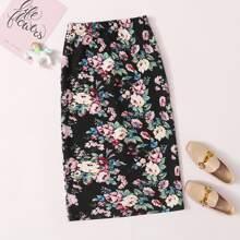 Girls Flower Print Fitted Skirt