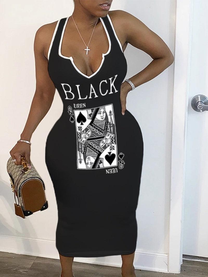 Ericdress V-Neck Print Mid-Calf Summer Pullover Dress