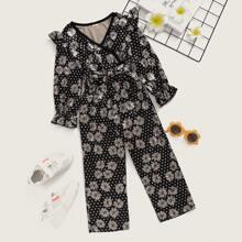 Toddler Girls Floral Print Polka Dot Belted Jumpsuit