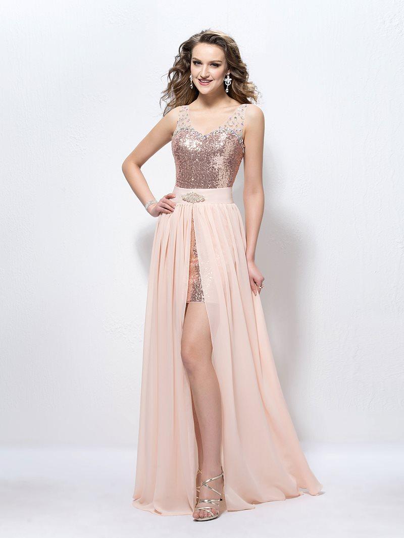Fashion Straps Beading Sequins Sheath Prom Dress