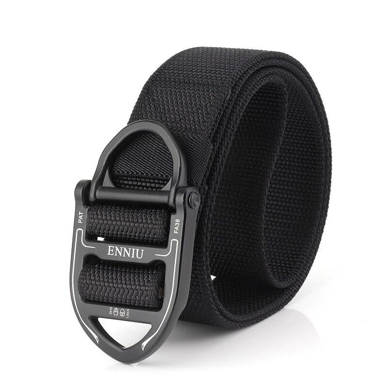 125cm Men Vogue Belt Double Ring Buckle Nylon Canvas Belt Adjustable Long Weave Belt