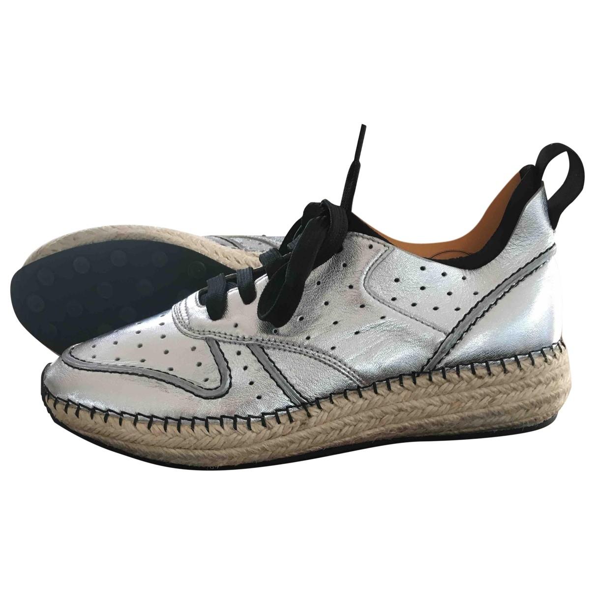 Tods - Baskets   pour femme en cuir - argente