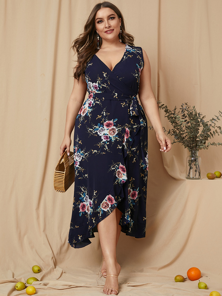 Yoins Plus Size Belt Design Floral Print V-neck Sleeveless Dress