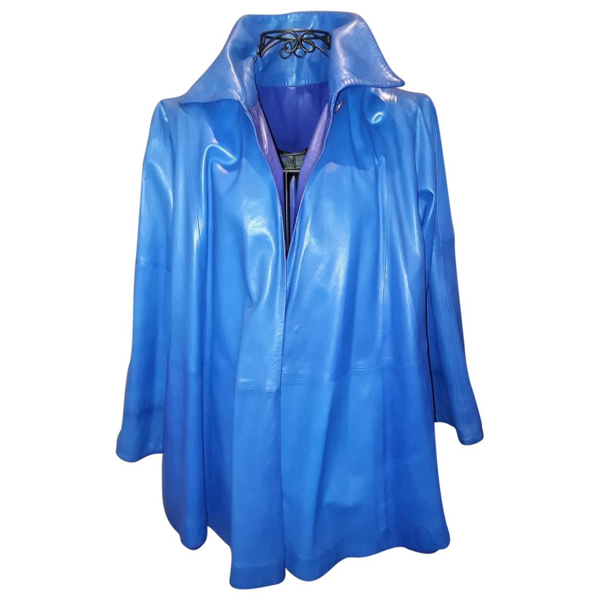 Gianfranco Ferré \N Blue Leather coat for Women 44 IT