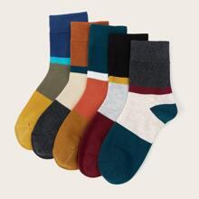 5 Paare Socken mit niedrigem Schnitt und Farbblock