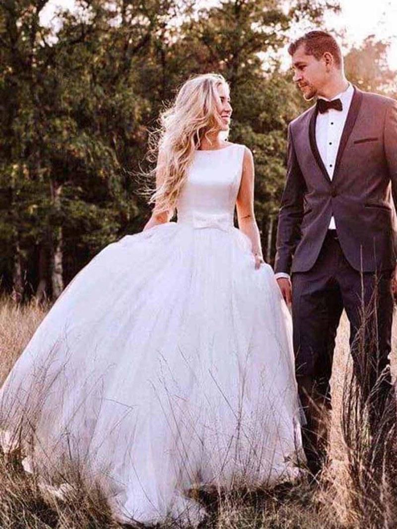 Ericdress Bowknot A-Line Button Outdoor Wedding Dress