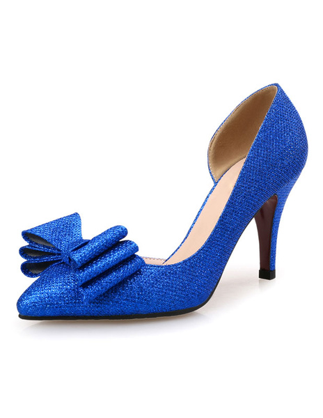 Milanoo Blue Pumps Shoes Pointed Toe High Heels Handmade Slip On Evening Shoes With Bow