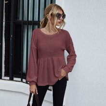 Drop Shoulder Ruffle Hem Tee