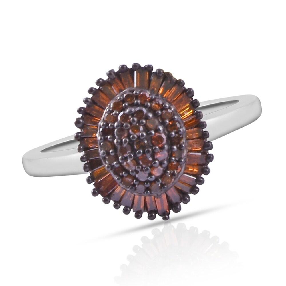 925 Silver Diamond Cluster Ring Ct 0.43 I Color I3 Clarity (Black - Black)