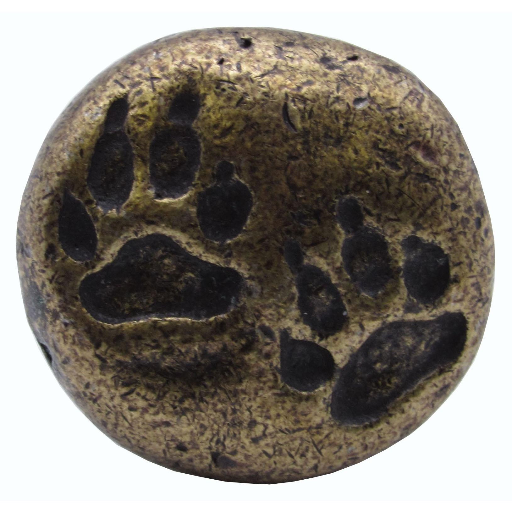 Bear Tracks Round Knob, Brass Oxide