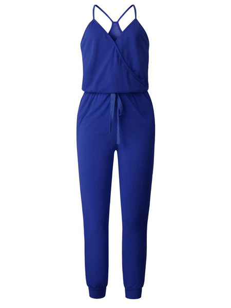 Milanoo Royal Blue V-Neck Sleeveless Loose Summer One Piece Outfit