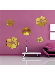 Gorgeous 3D Flower Mirror 4-Color 1-Set Removable Wall Sticker