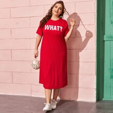 Plus Letter Graphic Tee Dress