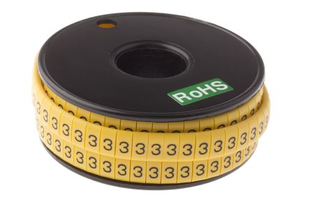 RS PRO Slide On Cable Marker, Pre-printed 3 Black on Yellow 3.5 → 7mm Dia. Range