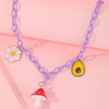 Halskette mit Pilz & Blumen Anhaenger