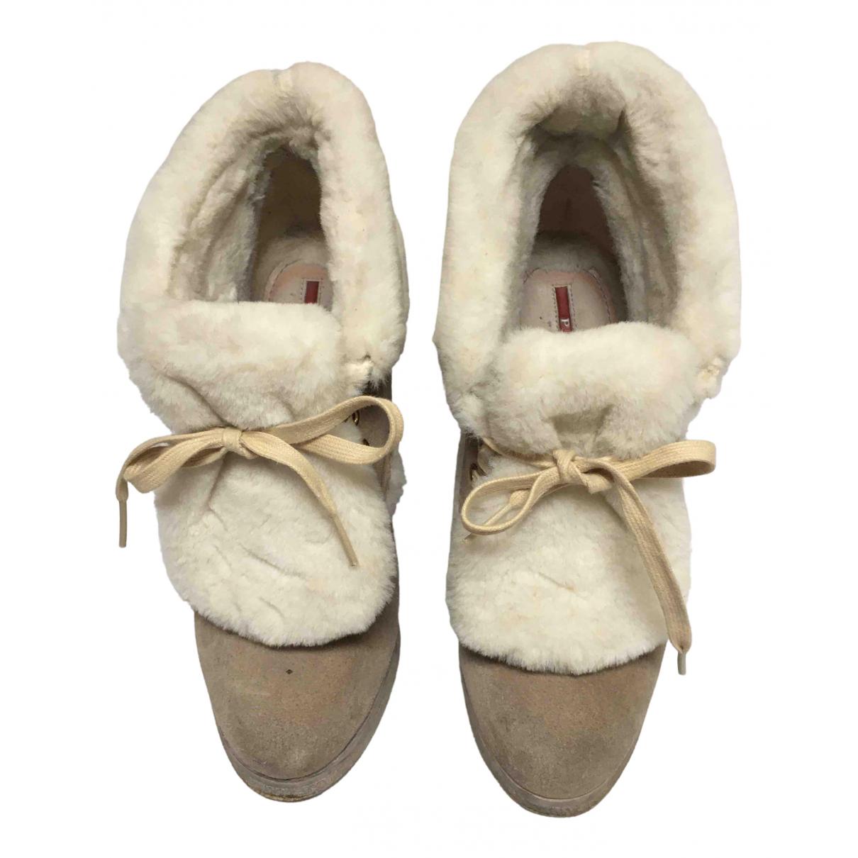 Prada N Beige Suede Ankle boots for Women 36 EU