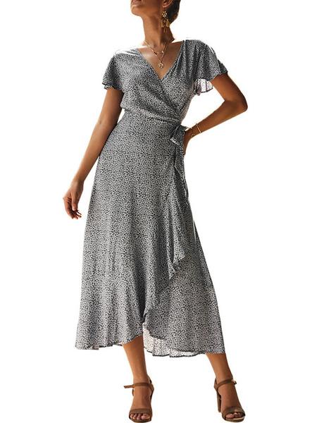 Milanoo Maxi Dress Short Sleeves Floral Print V Neck Ruffles Wrap Dress