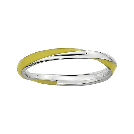 Personally Stackable Sterling Silver Twisted Yellow Enamel Ring, 6 , No Color Family