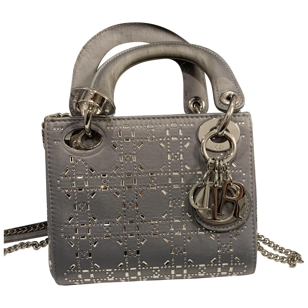 Dior Lady Dior Grey Silk handbag for Women \N