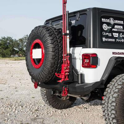 Road Armor Stealth Mid Width Rear Bumper with Tire Carrier (Black) - 5182R1B-TC