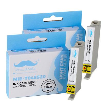 Compatible Epson T048520 cartouche d'encre cyan clair - Moustache@ - 2/paquet