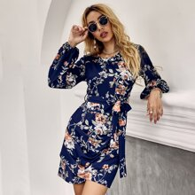 Floral Print Drape Detail Belted Dress