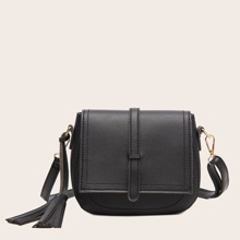 Tassel Decor Flap Saddle Bag
