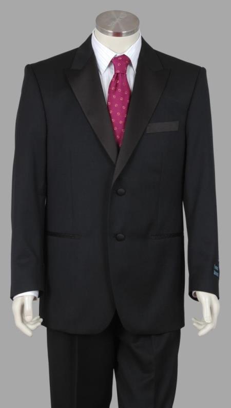 Enrico Brindisi 2 Btn Super Wool Tuxedo Pleated Pants Black