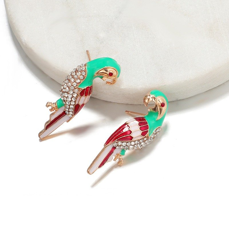 Fashion Style Colorful Parrot Earrings Metal Rhinestone Ear Stub For Women
