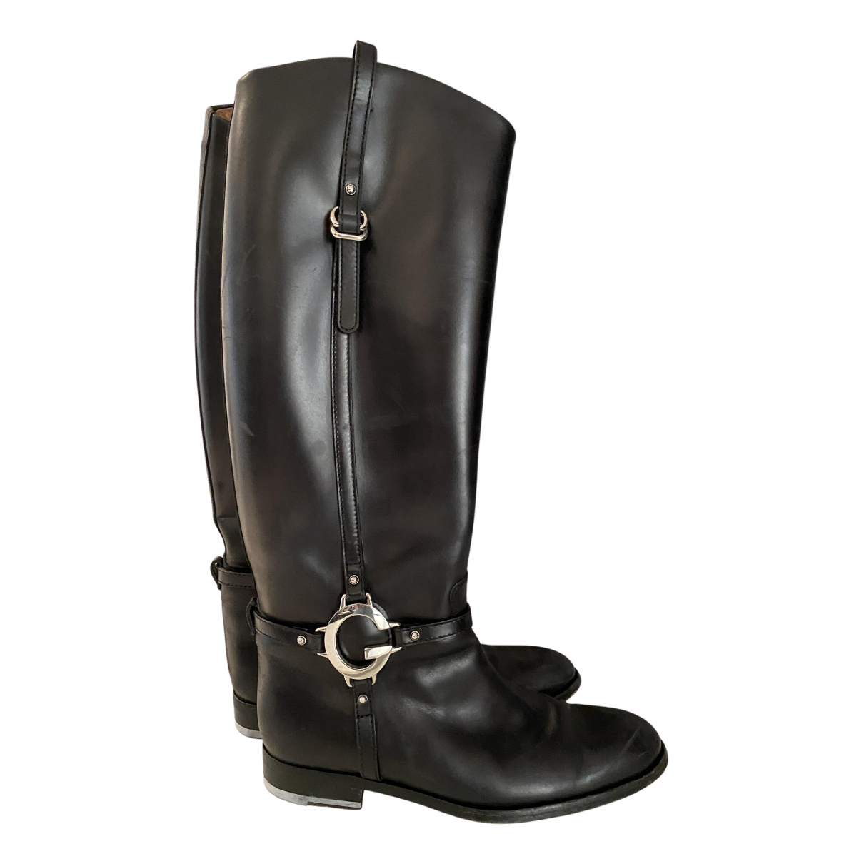 Gucci N Black Leather Boots for Women 39 IT
