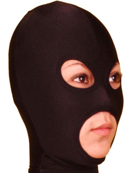 Milanoo Disfraz Halloween Capucha de Lycra Spandex de color negro con los ojos y la boca abierta Halloween