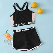 Bañador bikini de niñas con cinta con letra