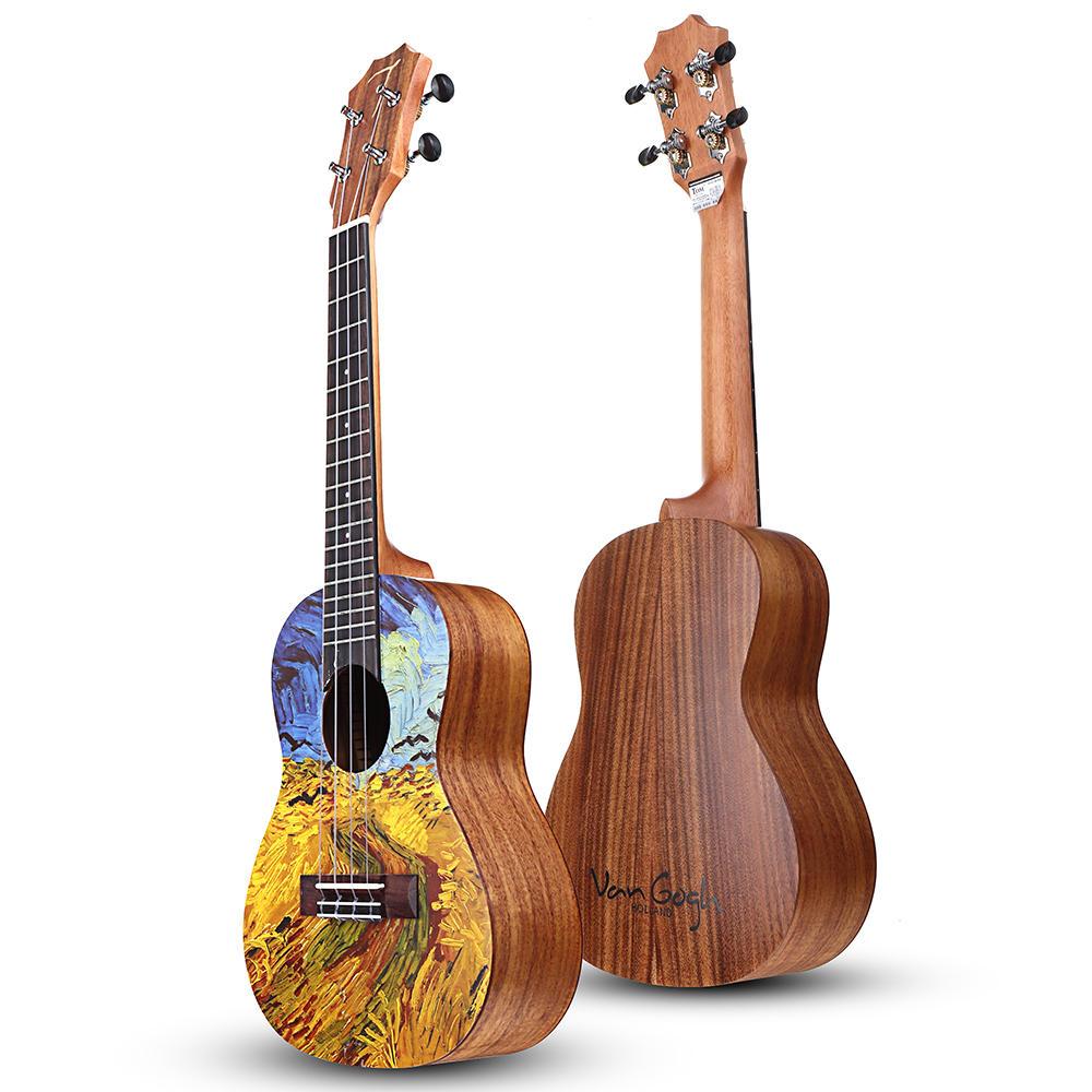 Tom VGW-C2 Van Gogh Series 23 Inch Acacia Wood Ukulele With Gig Bag