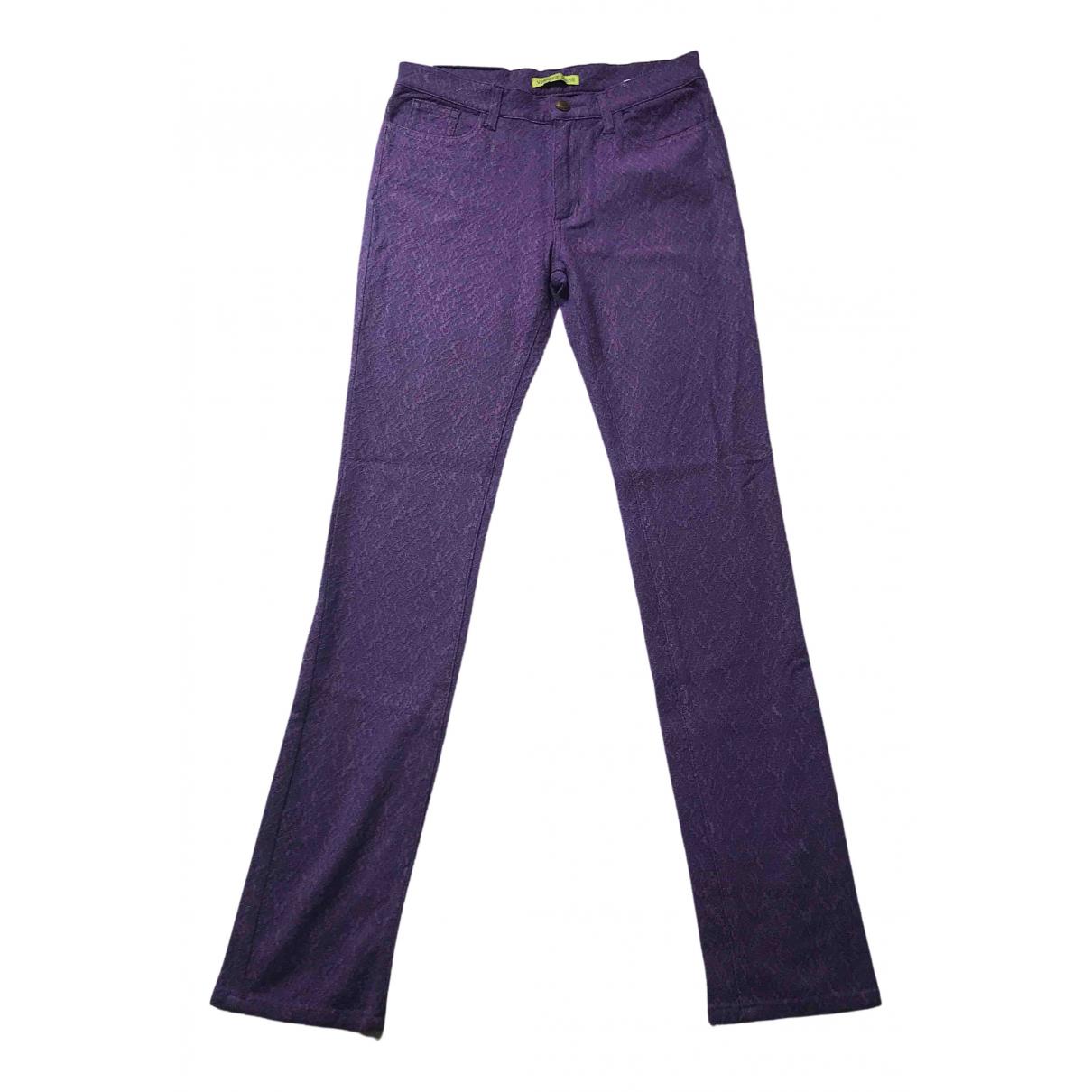 Versace Jeans \N Purple Cotton Trousers for Women 36 FR