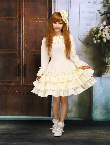 Milanoo Vestido de lolita de algodon con escote cuadrado y capas