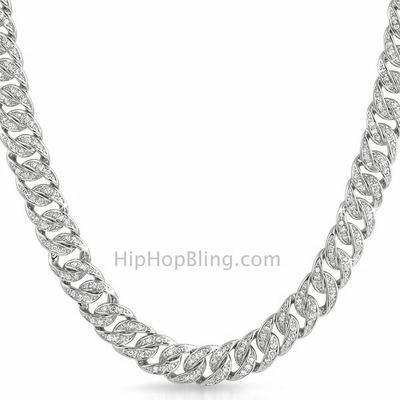 .925 Sterling Silver CZ Rhodium Bling Cuban Chain 10MM