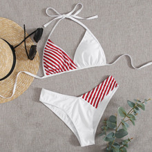 Stripe Spliced High Leg Bikini Swimsuit