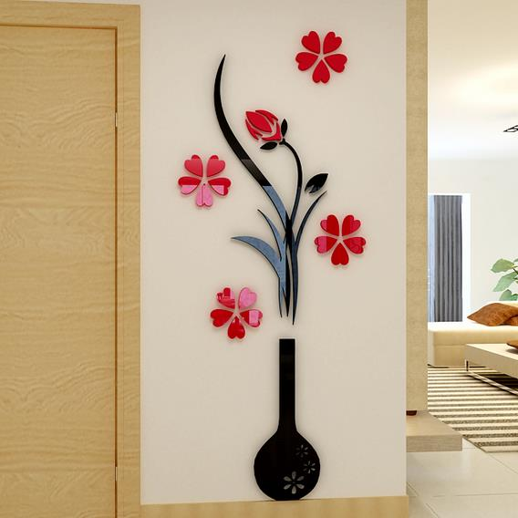 Black Vase and Red Flowers Acrylic 3D Wall Stickers