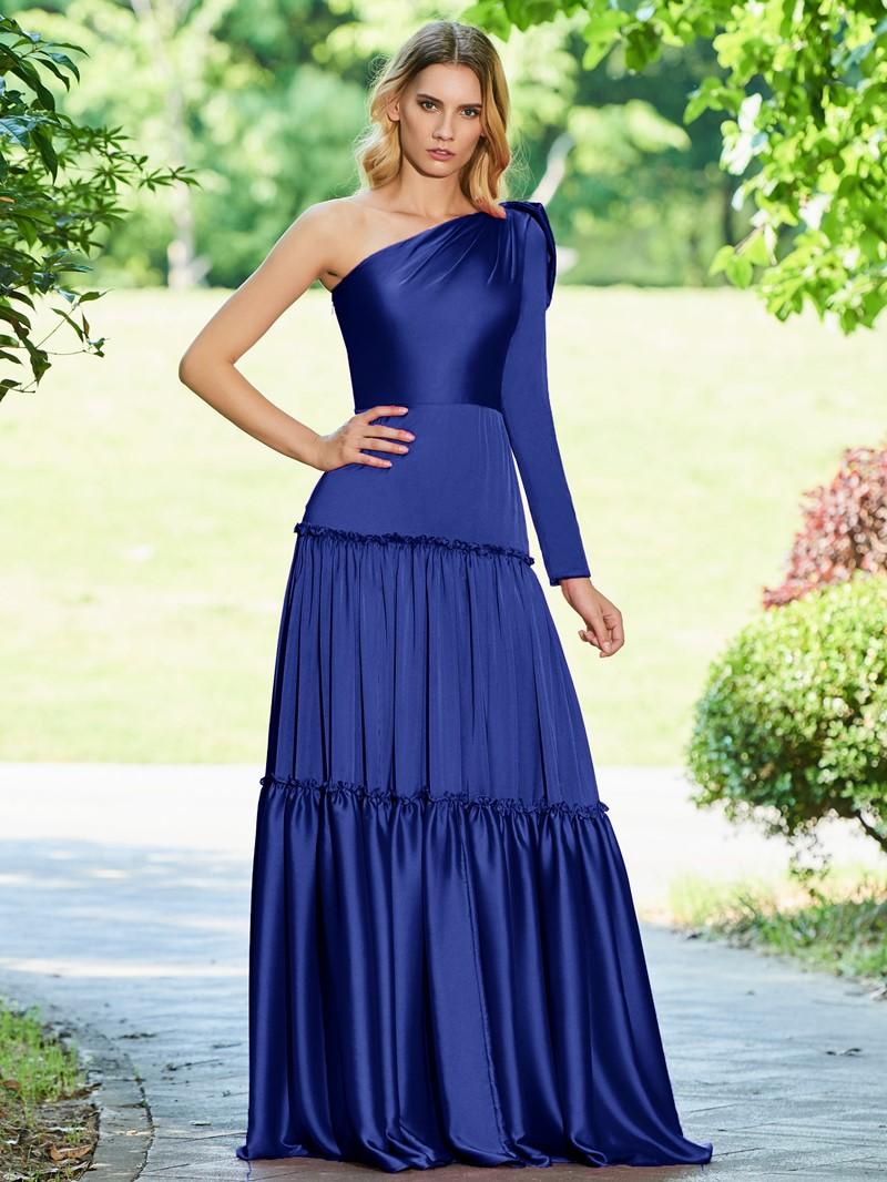 Ericdress A Line One Shoulder Floor Length Evening Dress