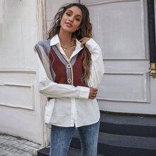 Pullover Top mit Argyle Muster und Knopfen vorn