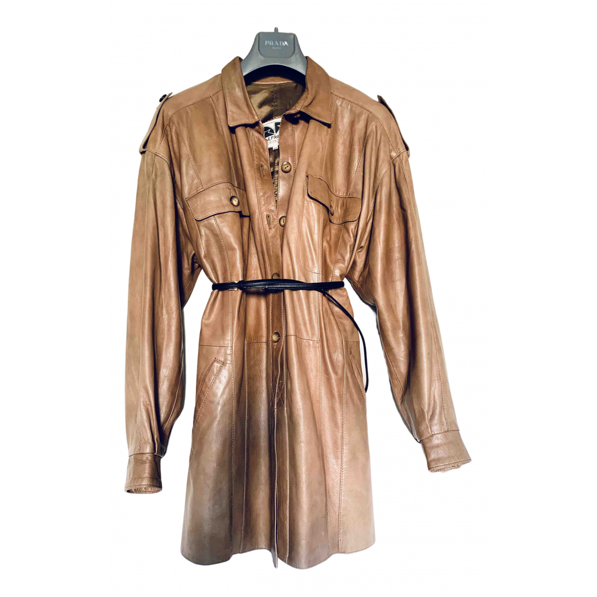 Non Signe / Unsigned Oversize Jacke in  Braun Leder