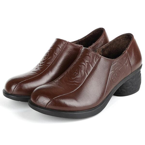 Women Folkways Round Toe Leather Zipper Warm Lining Chunky Heel Low Top Boots