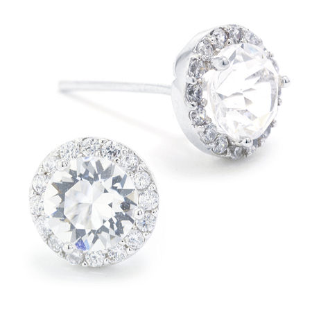 Sparkle Allure Swarovski Crystal Halo Pure Silver Over Brass 8.5mm Round Stud Earrings, One Size , No Color Family