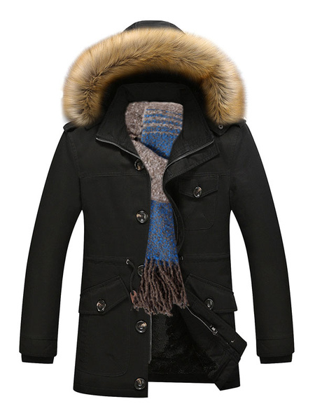 Milanoo Black Parka Coat Faux Fur Hoodie Jacket Men Lined Detachable Overzied Winter Coat