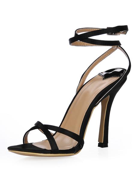 Milanoo High Heel Sandals Womens Black Criss Cross Open Toe Slingback Stiletto Heels Sandals